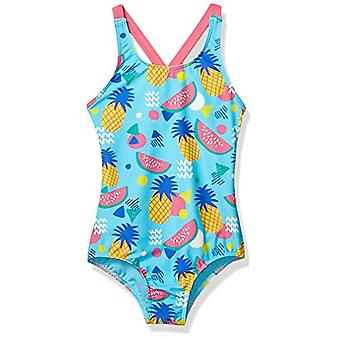 Brand - Spotted Zebra Girls' One-Piece Swimsuit, Aqua Pineapple, Large (10)