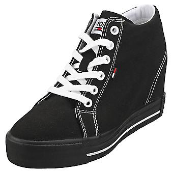 Tommy Jeans Casual Sneaker Womens Wedge Trainers in Black