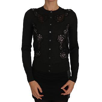 Dolce & Gabbana Gray Cashmere Lace Button Up Vest Trui