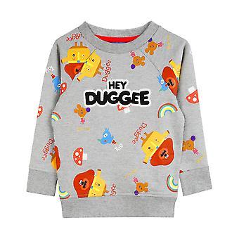 Hey Duggee Sweatshirt Squirrels Club Boy's Grey Long Sleeved Kids Sweater