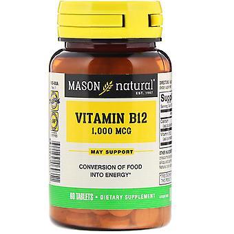 Mason Natural, Vitamin B12, 1,000 mcg, 60 Tablets
