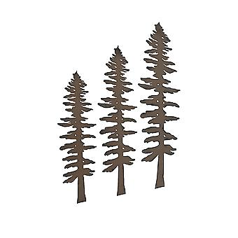Set of 3 Rustic Brown Finished Metal Pine Tree Wall Sculptures 16, 20, 24 Inches High