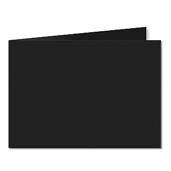 Jet Musta. 148mm x 420mm. A5 (Lyhyt reuna). 235gsm taitettu kortti tyhjä.