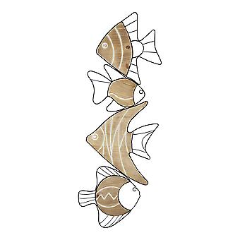 Fish Wall Art Decor with Matte Black Metal Outlines