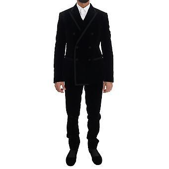 Dolce & Gabbana Musta Velvet Double Breasted Slim Suit KOS1125-1