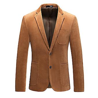 Allthemen Men's Autumn Winter Casual Slim Fit Two-button Cotton Blazer Jacket