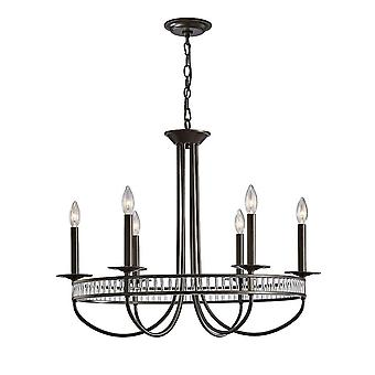 Inspired Diyas - Saskia - Round Ceiling Hanger 6 Light E14 Aged Bronze, Crystal