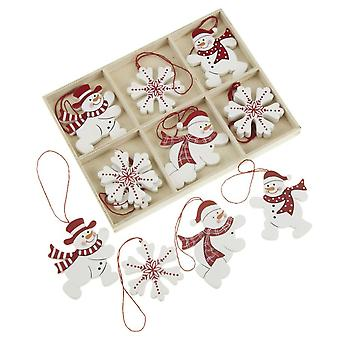 Christmas Wooden Hanging Snowflakes and Snowmen x 12