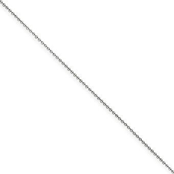 14k White Gold Polished Lobster Claw Closure 1mm Cable Chain Anklet 9 Inch Lobster Claw Jewelry Gifts for Women