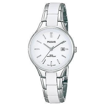 Pulsar señoras correa de acero inoxidable con acentos de cerámica blanco dial 50M reloj