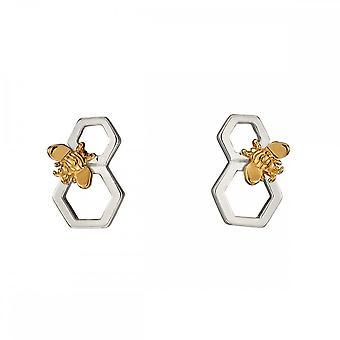 Elementos silver favo de mel e abelha prata amarelo brincos de ouro e5676