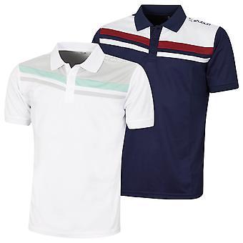 Stuburt Mens Leckford Moisture Wicking Striped Sport Golf Polo Shirt
