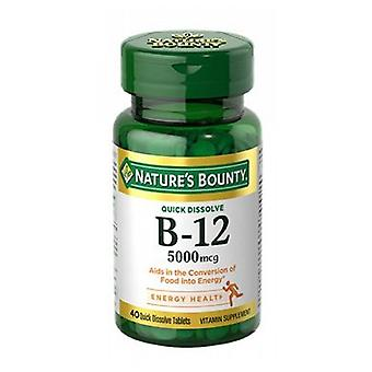 Nature's Bounty Vitamin B-12, 5000 mcg, 24 X 40 Tabs