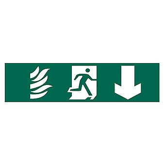 Scan Running Man Arrow Down - PVC 200 x 50mm SCA5203