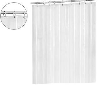 Transparent And Waterproof Bath Shower Curtain With Hooks