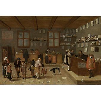 Advokater kontor av Pieter De Bloot 1628 holländska målning olja på Panel ett väntar linje av kunder för tre jurister som arbetar från höjde skrivbord i ett offentligt ämbete affisch Skriv