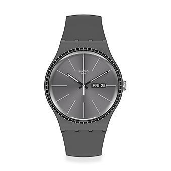 Swatch Suom709 Grey Rails Silicone Watch