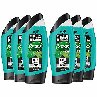 Radox Men 2in1 Shower Gel & Shampoo, Start Fresh, 6 Pack - 250ml