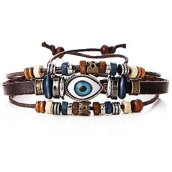 Monikerroksinen helmillä rannekoru silmämuna käsin kudottu tekonahka rannekoru
