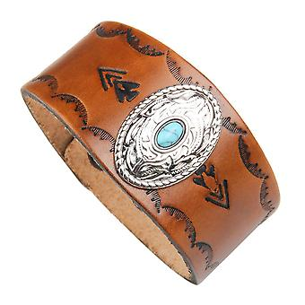 Punk Alloy Wide Genuine Leather Bracelet Inlaid Turquoise Wristband Men Jewelry