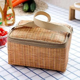 Rattan Waterproof Thermal Insulation Lunch Bag, Portable Picnic Food Storage