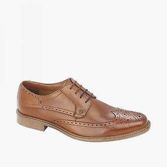 Lambretta Levi Mens Leather Lace Up Brogue Shoes Tan