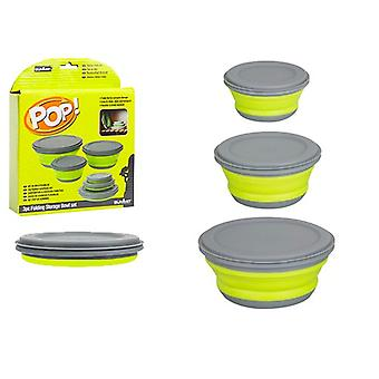 Summit Lime and Grey Pop 3 Piece Collapsible Bowl Set Camping Home Space Saving