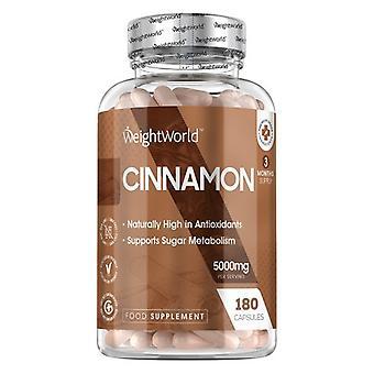 Cinnamon 180 Capsules - 5000 mg - Natural Herbal Wellness Spice Supplement