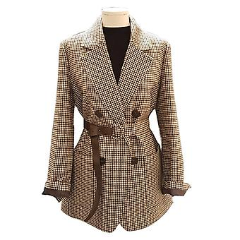 Plaid Women Work Blazer Jacket, Casual Double-breasted Sashes Suit, Slim Female