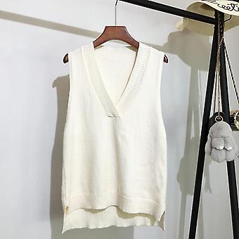 V-neck Stickad väst Kvinnor's höst och vinter ny koreansk tröja
