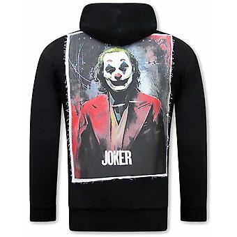 Joker Print Hoodie - Black