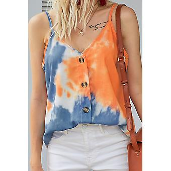 Summer Tie Dye Spaghetti Strap Buttoned Tank Top