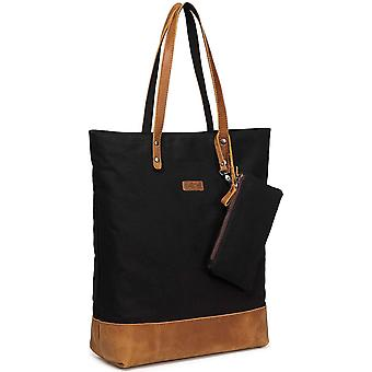 Tote Bag, VASCHY Vintage Leather Canvas Work Bag with Padded