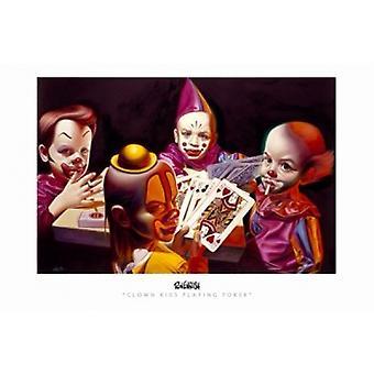 Clown enfants jouant Poker affiche du film (17 x 11)