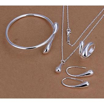 Water Drop Silver Necklace Bangles Rings Earrings Sets