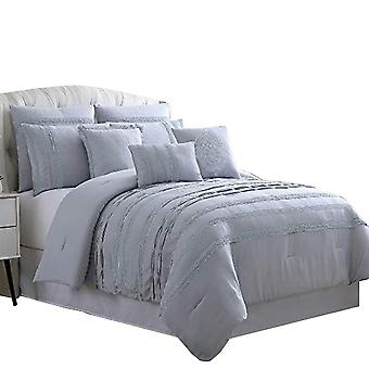 Assisi 8 Piece Queen Comforter Set With Reverse Pleats And Lace The Urban Port, Gray