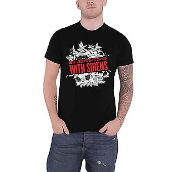 Sleeping with Sirens T Shirt Band Logo Floral new Official Mens Black