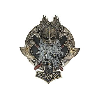 Bronze Finished Viking Warrior with Crossed Battle Axes Wall Plaque 10.25 Inches High