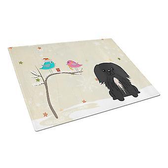Caroline'S Treasures Bb2579Lcb Christmas Presents Between Friends Pekingnese Black Glass Cutting Board, Large, Multicolor