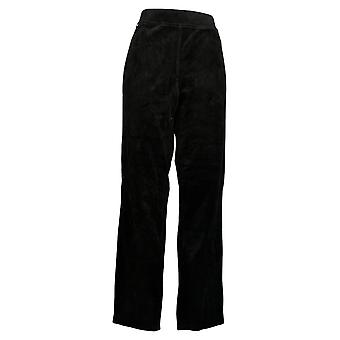 Quacker Factory Women's Pants Knit Corduroy Pull-On Slim Leg Black A279070