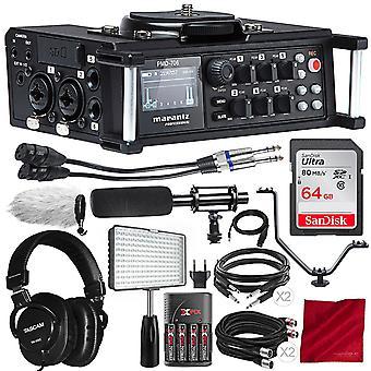 Marantz professionell pmd-706 96khz 6-kanalig dslr-inspelare med hagelgevärsmikrofon av sändningskvalitet, 64gb-kort, professionell intervjuvideosats