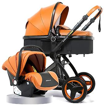 3 In 1 With Car Seat High Landscape Pu Pram Luxury Baby Stroller
