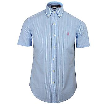 Ralph lauren men's blue and white seersucker shirt