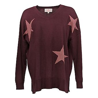 Laurie Felt Women's Sweater Cashmere Blend Intarsia V-Neck Red A375435