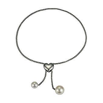 Pulsera perla Adriana blanco de agua dulce ajustable con rodio de plata corazón chapado 24 cm T13