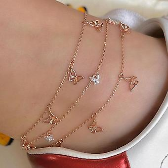 5 Pcs/set Sweet Crystal Fruit Butterfly Star Anklets Bracelet