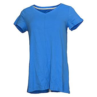 Isaac Mizrahi Live! Women's Top Essentials Pima V-Neck Tunic Blue A289636