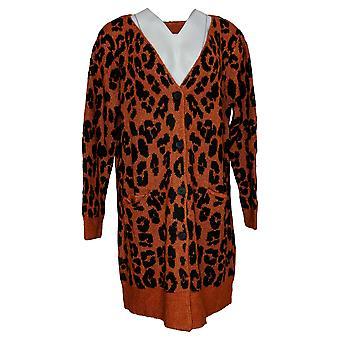 LOGO by Lori Goldstein Women's Sweater Jacquard Cardigan Orange A386791