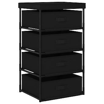 vidaXL Storage rack with 4 fabric baskets steel black