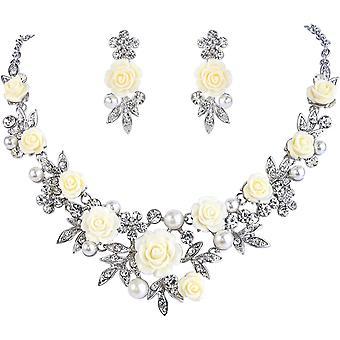 FengChun Silber-Ton Kristall knstliche Perle Frhling Rose Blume Blatt Halskette Ohrringe Set klar